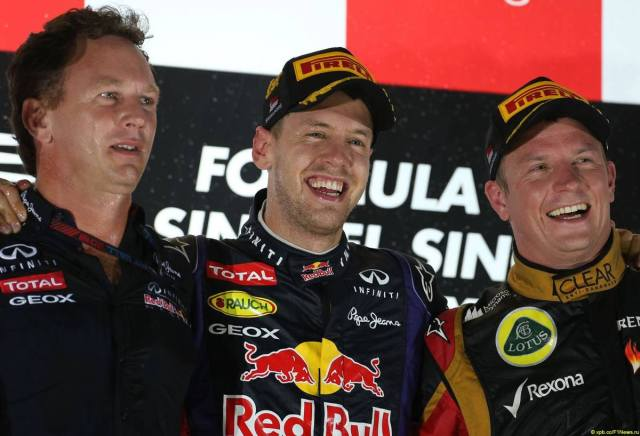 "Horner: ""I don't like those booers."" Vettel: ""I don't care. I'm winning!"" Kimi: ""Dude.. The morphine for my back is kicking in."""