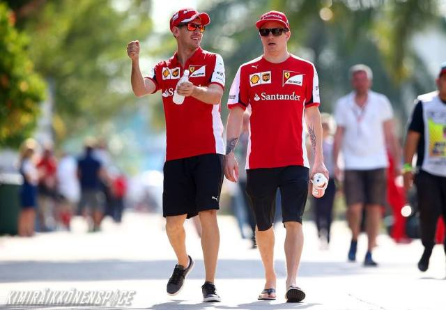 "Vettel: ""And then Alonso was like: ""The car is shit. I'm gonna bang it into this wall and take a break. Kimi: ""But then he was all like: ""Duuuhh.. I drive go-karts."""